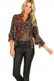 Fracomina |  Leopard print blouse Rosa | animal  | Picture 2