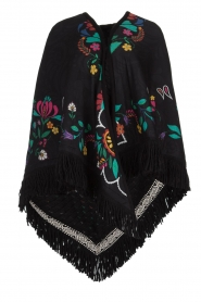 Katherina Loretta |  Poncho with floral print Alexa | black  | Picture 1