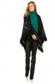 Katherina Loretta |  Poncho with floral print Alexa | black  | Picture 2