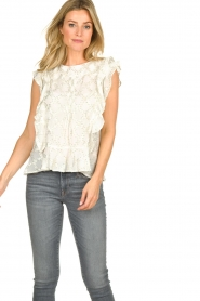 Lolly's Laundry |  Top with lurex details Harmony | white  | Picture 4