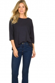 Blaumax |  T-Shirt with rolled up sleeves Babette | blue  | Picture 2