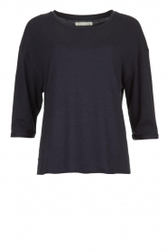 Blaumax |  T-Shirt with rolled up sleeves Babette | blue  | Picture 1