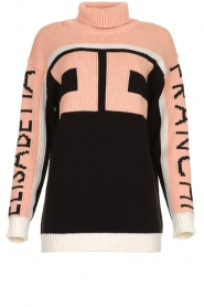ELISABETTA FRANCHI |  Turtleneck sweater with logo print Eliza | light pink  | Picture 1