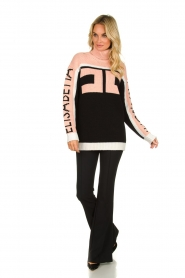 ELISABETTA FRANCHI    Turtleneck sweater with logo print Eliza   light pink    Picture 3
