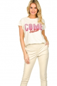 ba&sh |  T-shirt with text print Coby | natural  | Picture 2