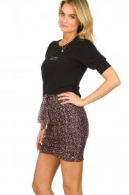 ba&sh |  Print skirt with silk Dina | black  | Picture 4