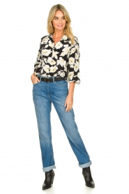 ba&sh |  Floral blouse with silk Fantasy | black  | Picture 3