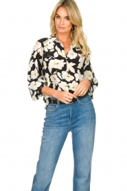 ba&sh |  Floral blouse with silk Fantasy | black  | Picture 2