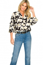 ba&sh |  Floral blouse with silk Fantasy | black  | Picture 4
