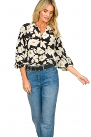 ba&sh |  Floral blouse with silk Fantasy | black  | Picture 5