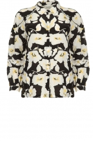 ba&sh |  Floral blouse with silk Fantasy | black  | Picture 1