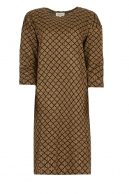 Les Favorites |  Print dress with lurex Ruth | brown  | Picture 1