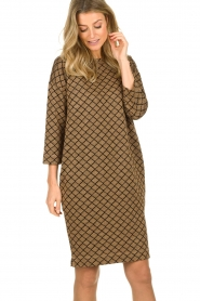 Les Favorites |  Print dress with lurex Ruth | brown  | Picture 2
