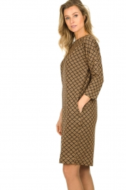Les Favorites |  Print dress with lurex Ruth | brown  | Picture 5