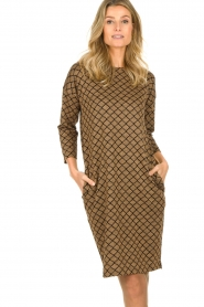 Les Favorites |  Print dress with lurex Ruth | brown  | Picture 4