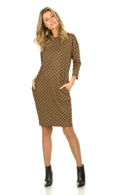 Les Favorites |  Print dress with lurex Ruth | brown  | Picture 3