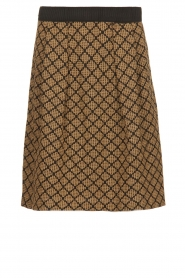 Les Favorites |  Print skirt with lurex Linda | brown   | Picture 1