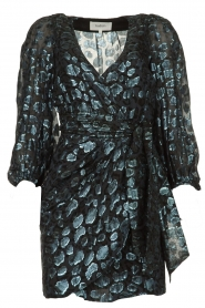 ba&sh |  Silk wrap dress with leopard print Ginger | blue  | Picture 1