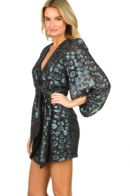 ba&sh |  Silk wrap dress with leopard print Ginger | blue  | Picture 5