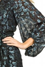 ba&sh | Zijden wikkeljurk met luipaardprint Ginger | blauw   | Afbeelding 7