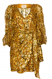 ba&sh |  Silk wrap dress with leopard print Ginger | gold  | Picture 1