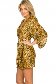 ba&sh |  Silk wrap dress with leopard print Ginger | gold  | Picture 5