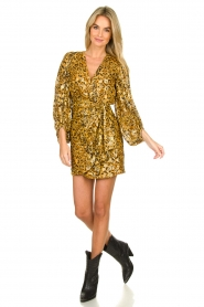ba&sh |  Silk wrap dress with leopard print Ginger | gold  | Picture 3