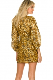 ba&sh |  Silk wrap dress with leopard print Ginger | gold  | Picture 6