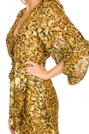 ba&sh |  Silk wrap dress with leopard print Ginger | gold  | Picture 7