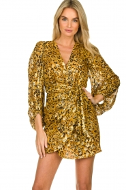 ba&sh |  Silk wrap dress with leopard print Ginger | gold  | Picture 2