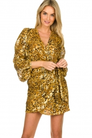 ba&sh |  Silk wrap dress with leopard print Ginger | gold  | Picture 4