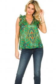 ba&sh |  Sleeveless top with print | green  | Picture 2