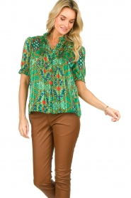 ba&sh |  Floral printed blouse Hippy | green  | Picture 2