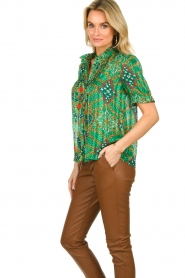 ba&sh |  Floral printed blouse Hippy | green  | Picture 4