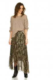 ba&sh |  Silk leopard maxi skirt with lurex Jalvy | animal print  | Picture 3