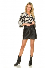 ba&sh |  Leather wrap skirt Luna | black  | Picture 3