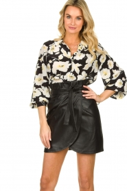 ba&sh |  Leather wrap skirt Luna | black  | Picture 4