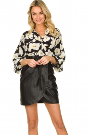 ba&sh |  Leather wrap skirt Luna | black  | Picture 2