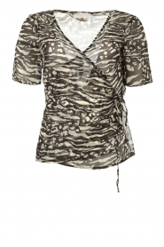 Freebird |  Animal printed wrap top Aily | black  | Picture 1