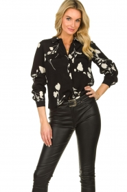 ba&sh |  Blouse with flowers Pola | black  | Picture 2