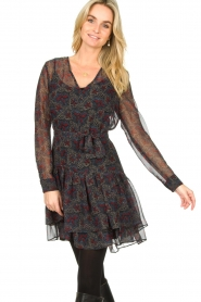 Freebird :  Wrap dress with print Mo | blue - img2