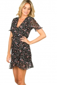 Freebird |  Floral wrap dress Rosy | black  | Picture 5