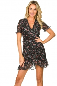 Freebird |  Floral wrap dress Rosy | black  | Picture 2