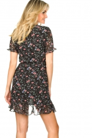 Freebird |  Floral wrap dress Rosy | black  | Picture 7