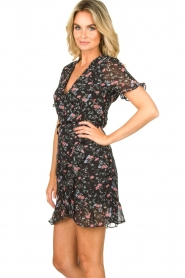 Freebird |  Floral wrap dress Rosy | black  | Picture 6