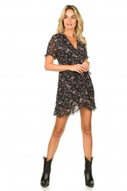 Freebird |  Floral wrap dress Rosy | black  | Picture 3