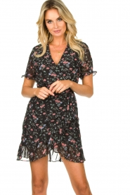 Freebird |  Floral wrap dress Rosy | black  | Picture 4