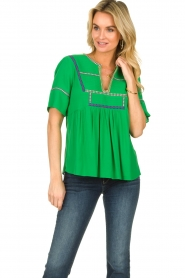 ba&sh |  Embroidered top Taylor | green  | Picture 2