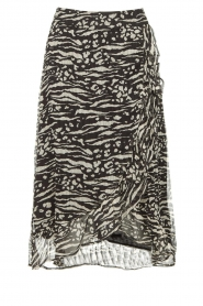 Freebird |  Animal printed wrap skirt Alina | black  | Picture 1