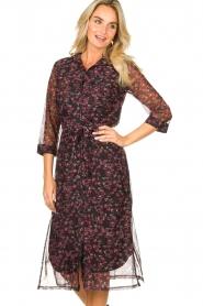 Freebird |  Floral button-up dress Victoria | red  | Picture 2